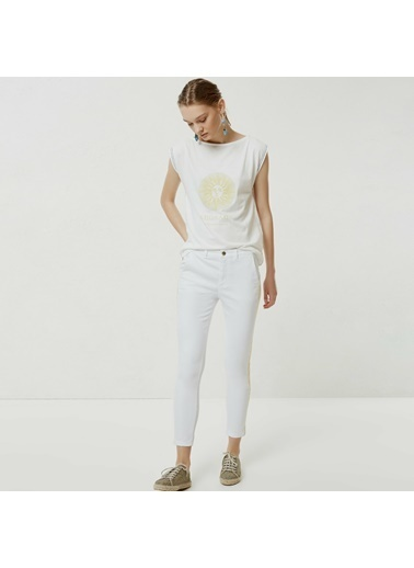 Yargıcı Nakış Detaylı Denim Pantolon Beyaz